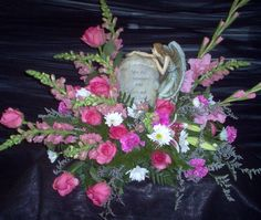 Memory Stone Angel with Pink Glads, Carnations White pomps and Pink Snaps
