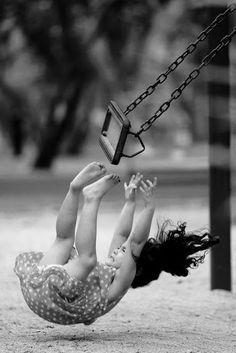 cute kids - little girl - blonde - summer - swing - balançoire