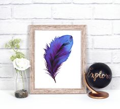 Feather digital print watercolor feather wall art by NikaKoscielny Feather Wall Art, Watercolor Feather, Digital Prints, Fingerprints