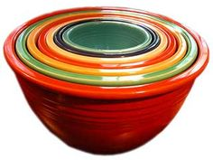 Vintage Fiesta Dinnerware Nesting Bowls - Set of seven bowls: produced from 1936-1943