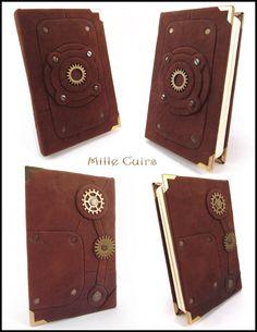 Tiny steampunk notebook by MilleCuirs.deviantart.com on @deviantART