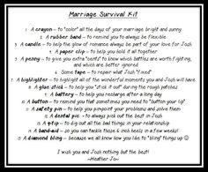 Wedding Shower Gift - Marriage Survival Kit