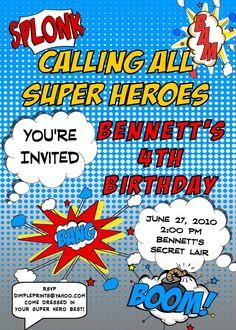 Superhero InviteSuper Hero Comic Invitation Custom by Dimpleprints, $10.00