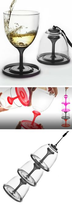 Stack n Go wine glass // folds up and stacks for easy storage and carrying - brilliant! #product_design
