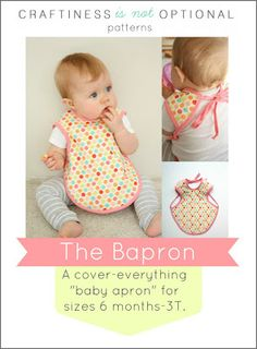 51 Things to Sew for Baby - Baby Apron Tutorial - Cool Gifts For Baby, Easy Things To Sew And Sell, Quick Things To Sew For Baby, Easy Baby Sewing Projects For Beginners, Baby Items To Sew And Sell Baby Sewing Projects, Sewing Projects For Beginners, Sewing For Kids, Diy Projects, Baby Sewing Tutorials, Free Sewing, Sewing Ideas, Sewing Crafts, Handgemachtes Baby