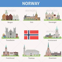 Buy Norway Symbols of Cities by saransk on GraphicRiver. Symbols of cities Trondheim, Stavanger, Norway Tattoo, Fredrikstad, Norway Oslo, Kristiansand, Travel Icon, Clip Art, Cathedral Church