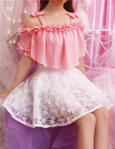 "Sweet bowknot condole belt falbala chiffon blouse   Coupon code ""cutekawaii"" for 10% off"