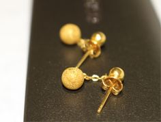 24 Carat gold ear rings vintage golden earrings by GiftOfaKind, £199.00