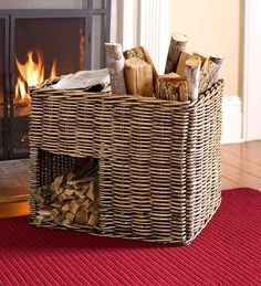 Rattan Storage Caddy | Wood Racks