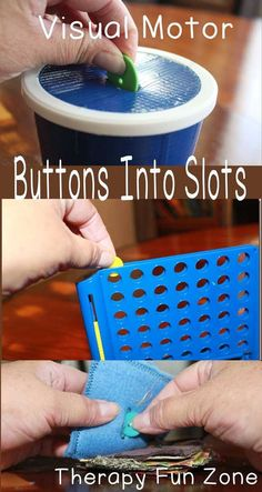 Buttoning for children uses visual motor skills to successfully button. This activity practices fine motor skills to pick up and put buttons into correct slots and holes. Visual Motor Activities, Visual Perceptual Activities, Fine Motor Activities For Kids, Montessori Activities, Self Help Skills, Life Skills, Occupational Therapy Activities, Motor Planning, School Ot