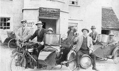 Group of Douglas owners pose outside the Shoe Inn North Wraxhall Somerset 1930s.  British motorcycle Sidecars  www.britishmotorcyclespares.com/Motorcycle_sidecar_Manual...