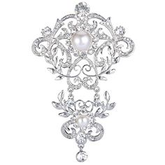 EVER FAITH SilverTone Crystal Cream Simulated Pearl 4 Inch Elegant Floral Leaf Vine Wave Brooch Clear * Want to know more, click on the image.