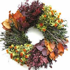 Tres Chic Large Dried Herb Wreath is a mixture of colors and textures. dried wreath should be used in doors in a kitchen, dining room or try using in a living room with leather furniture.Great decoration for a large open wall Thanksgiving Wreaths, Autumn Wreaths, Holiday Wreaths, Thanksgiving Decorations, Holiday Ideas, Fall Decorations, Seasonal Decor, Halloween Wreaths, Christmas Holiday