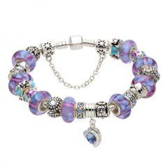 Bratara dama Purple Murano Pandora Style AS11 Pandora Charms, Fashion Jewelry, Dots, Charmed, Purple, Pink Dot, Bracelets, Jewelries, Dot Dress