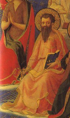 Saint Paul dans la gloire des élus au Jugement dernier. Avec ses attributs : livre de ses Épîtres et glaive de son martyre.