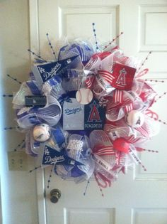 """""""House Divided"""" Dodgers and Angels Wreath"""