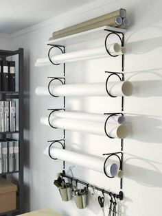 paper storage - like the idea of hanging scissors in the same area so don't have to hunt for them.