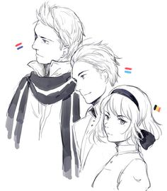 Willem (head-canon name for Netherlands), Luxembourg (need a name for him), and Anouk (head-canon name for Belgium) - Art by blackyjo.tumblr.com