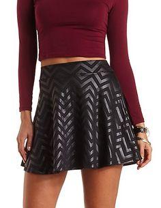 Textured Chevron Skater Skirt #charlotterusse #charlottelook #texture #skater #skirt