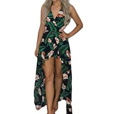 ad170c63496 Amazon.com  Frieed Women Casual Spaghetti Strap Floral Split Party  Jumpsuits Maxi Romper Dress  Clothing