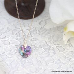Handmade Crystal Heart Real Sterling Silver by littlepurpleboat