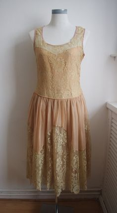 1920s ecru chantilly lace flapper dress by HaresAndGraces on Etsy