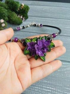 Fine necklaces that truly are top quality. Purple Necklace, Agate Necklace, Short Necklace, Flower Necklace, Necklace Lengths, Polymer Clay Flowers, Polymer Clay Jewelry, Ear Jewelry, Fine Jewelry