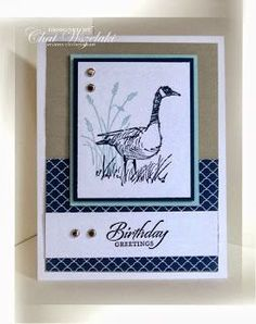 "By Chat Wszelaki. Uses ""Wetlands"" stamp set by Stampin' Up. Neat and clean card!"