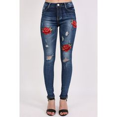 Pilot Floral Embroidered Distressed Skinny Jeans ($72) ❤ liked on Polyvore featuring jeans, denim, pantalones, destroyed jeans, skinny fit denim jeans, ripped skinny jeans, destructed jeans and flower embroidered jeans