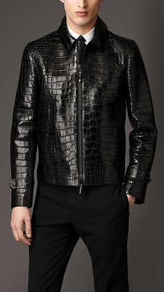 Alligator Jacket, Crocodile Skin Jacket for Men Burberry Jacket, Burberry Men, Men's Leather Jacket, Leather Men, Leather Jackets, Lambskin Leather, Pink Leather, Blazer En Cuir, Leather Fashion