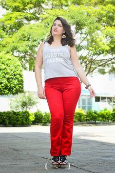 Calça Vermelha e Regata Cinza - red pants - red denim - grey tank