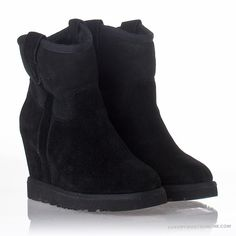Ash Womens Yahoo Bis Wedge Boot Black Suede