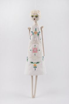Hanging Art Doll Ceramic Sculpture Mixed Media by DoubleFoxStudio