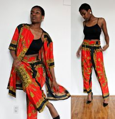 Versace style gold flake 1X size two piece 90s by Thriftionary,
