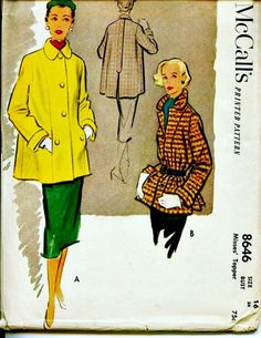 1951 Fall Topper - McCALL'S 8646 - Lovely Car Coat Vintage Sewing Pattern - Bust 34