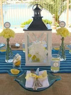 Love the centerpiece portion, without the nautical add ons. Perhaps in my mint and navy :)