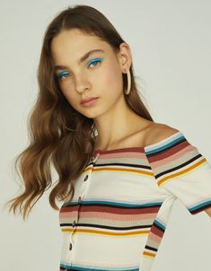Ribbed button-up T-shirt with Bardot neckline - Bershka #fashion #newin #product #clothes #trend #trendy #new #spring #summer #ss #2018 #ss18 #outfit #ideas #inspiration #moda #tendencia #stripes #striped #rayas #cool #young #girl