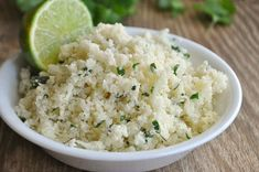 add 1 avocado to this recipe.Light and fluffy Cilantro Lime Cauliflower rice! Quick and easy! Detox Recipes, Rice Recipes, Vegetarian Recipes, Cooking Recipes, Healthy Recipes, Cooking Games, Healthy Tips, How To Make Cauliflower, Tasty Cauliflower