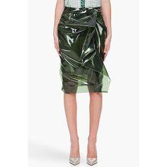 Marc Jacobs Dark Green Sara Skirt for women Plastic Skirt, Plastic Pants, Steam Punk, Textiles, Fashion Designer, High Fashion, Womens Fashion, Raincoats For Women, Vogue