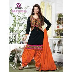 Black Embroidered Cotton Dress Material