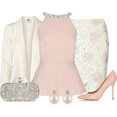 Pink Embellished Neck Halter Peplum Top, created by dgia on Polyvore