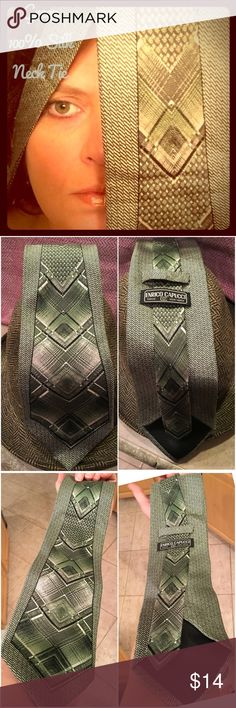 100% Silk Green Neck Tie 💚 by Enrico Capucci 100% Silk handmade neck tie by Enrico Capucci. Beautiful shades of green - third photo shows truest color. Great condition. Enrico Capucci Accessories Ties