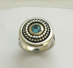 Sterling Silver Ring, yellow gold ring, blue topaz ring, blue gemstone ring, dotting ring, two-tone ring, cocktail ring - Deep. R0919X 14k Gold Jewelry, Sterling Silver Earrings, Gold Earrings, Gold And Silver Rings, Yellow Gold Rings, Blue Sapphire Rings, Blue Topaz Ring, Green Quartz, Blue Gemstones
