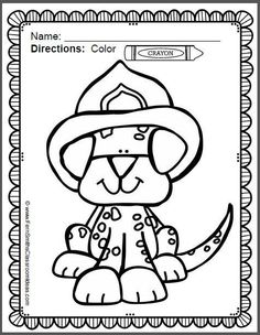 #Free Fire Station Dog Page in the Preview Download! Fire Prevention and Safety Fun! Color For Fun Printable Coloring Pages {14 coloring pages equals less than 10 cents a page.} October is Fire Prevention and Fire Safety Month, have a little fun with these inviting printable coloring sheets. Upcoming Fire Prevention Weeks starts on: October 04, 2015 .. October 09, 2016 .. October 08, 2017 #TPT $paid
