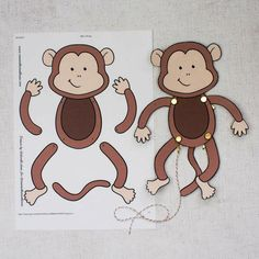 Easy Monkey Paper Puppet with Templates - Mum In The Madhouse #easyartsandcraftsforkids Jungle Crafts, Zoo Crafts, Monkey Crafts, Monkey Art, Puppet Crafts, Preschool Crafts, Zoo Animal Crafts, Monkey Puppet, Easy Crafts