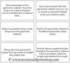 Geometric Shapes Command Cards: 50 Command Cards for activities with the geometric shapes from the Geometry Cabinet.