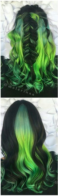 Green black dyed hair color inspiration