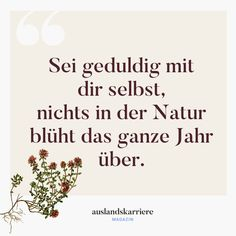 Sei Mit Dir Selbst Geduldig Nichts In Der Natur Blüht Das Ganze Jahr. *** Be Patient With You Nothing In Nature Flowers The Whole Year. *** # Autonomously sayings Motivation Positive, Positive Vibes Quotes, Daily Motivation, Positive Thoughts, Motivational Photos, Motivational Quotes For Life, Life Quotes, Inspirational Quotes, Etre Patient