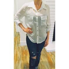 White Buttoned Top This shirt has been worn about 3 times. In great condition! Minimal snags! The color is beige! No Trades or PayPal! About A Girl Tops
