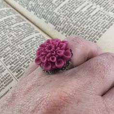 Vintage Inspired Mauve Flower Statement Ring // Adjustable Ring  by MonicaRudyJewelry